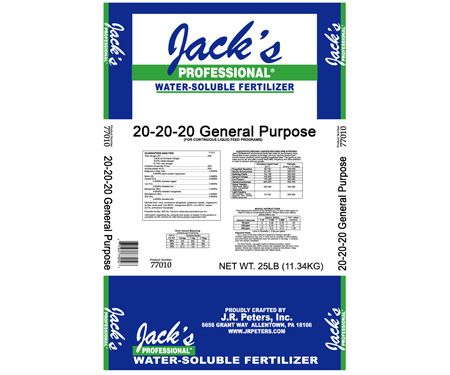 Jack's Professional 20-20-20 Fertilizer is a general-purpose industry standard, 20-20-20 is great for maintaining plants in garden center and growing facilities. It provides fast green-up and great foliar expansion due to the high percentage of ammonium and urea nitrogen plus balanced phosphorus and potassium for excellent root and shoot growth. 25 lb. bag. All Purpose 20-20-20 Fertilizer by Rustica House. #myRustica