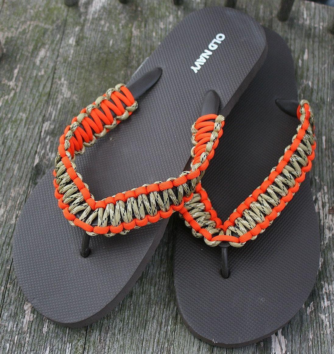 Neon Orange And Camo Brown Paracord Flip Flops Shoes Mens