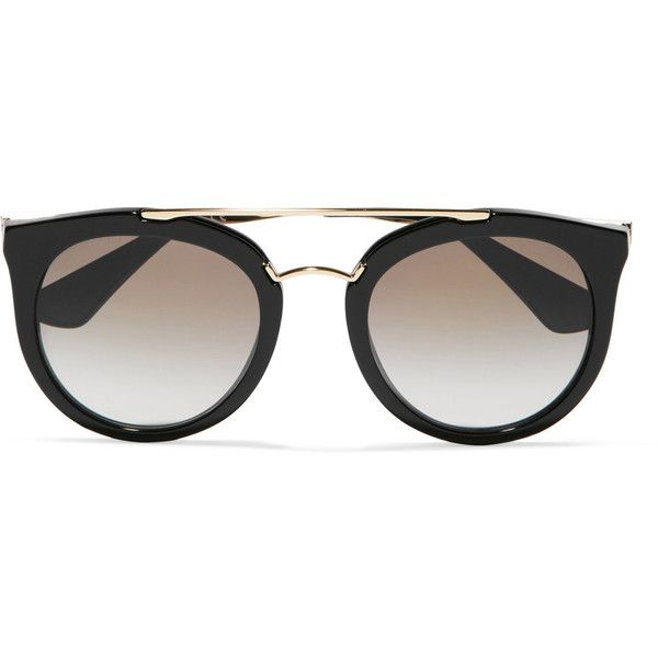 01ef473adb23 Prada Cat-eye acetate and gold-tone sunglasses ( 330) ❤ liked on Polyvore  featuring accessories