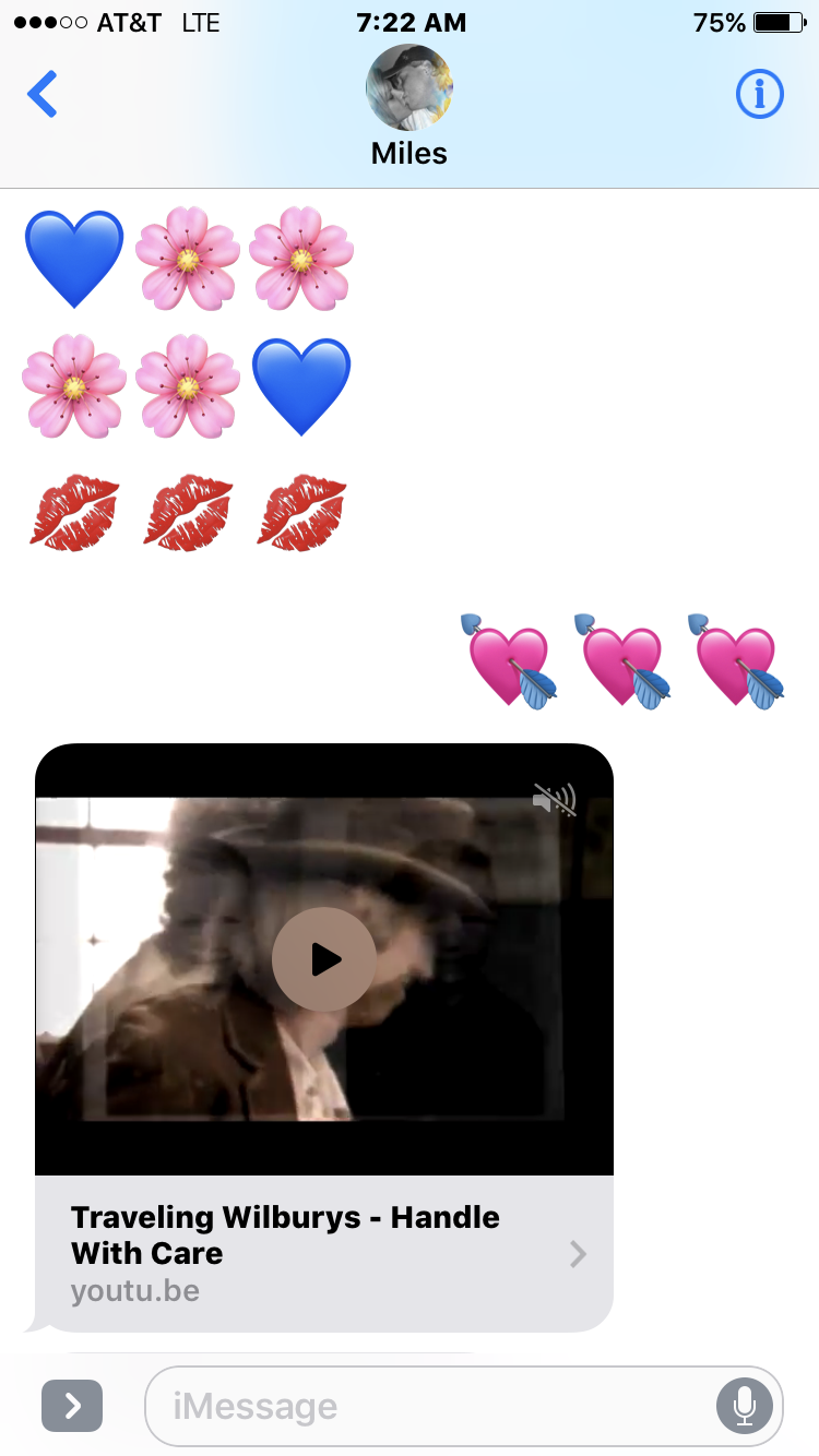 Emoji morning of love  Today  and he sends me a song  As he listens