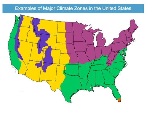 Give students a lesson in weather patterns and US climate zones