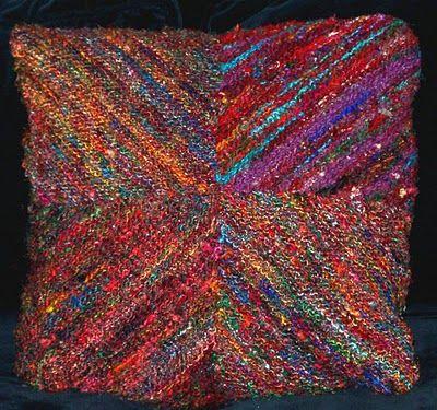 Pattern Pillow From Recyc Sari Silk Yarn Knitting With Sari Yarn