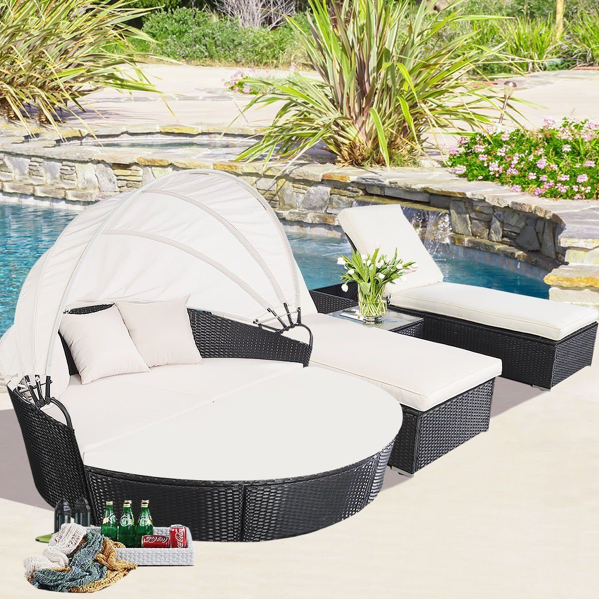 Outdoor Rattan Patio Furniture Round Canopy