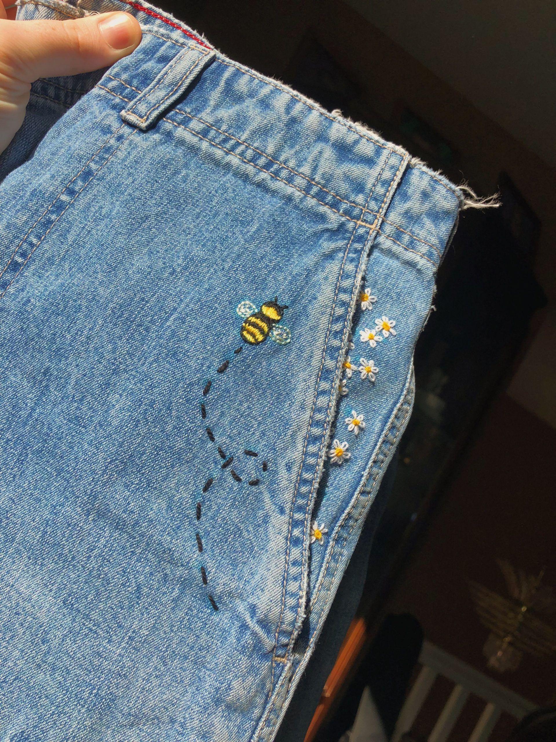 pantalones cortos de jean bordados con abejorro 🐝 ...