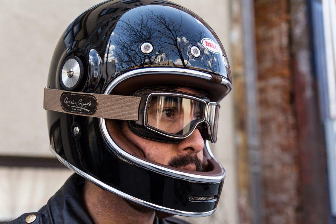5258c36e04 Aviator T2 moto moggles from Leon Jeantet with the ultra retro Bullitt  full-face helmet from Bell.