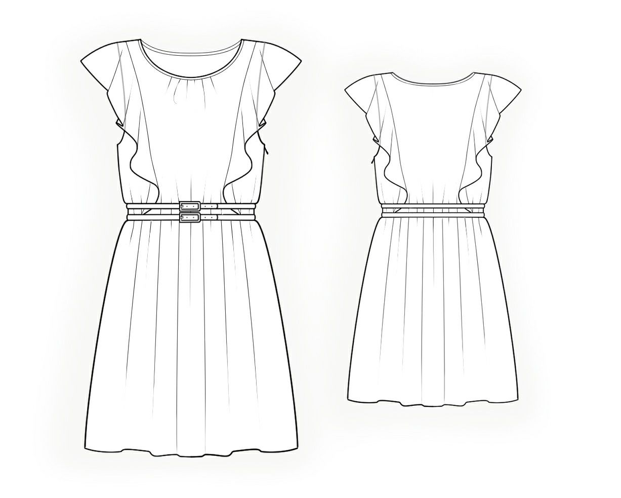 Dress With Flounces - Sewing Pattern #4279 Made-to-measure sewing ...