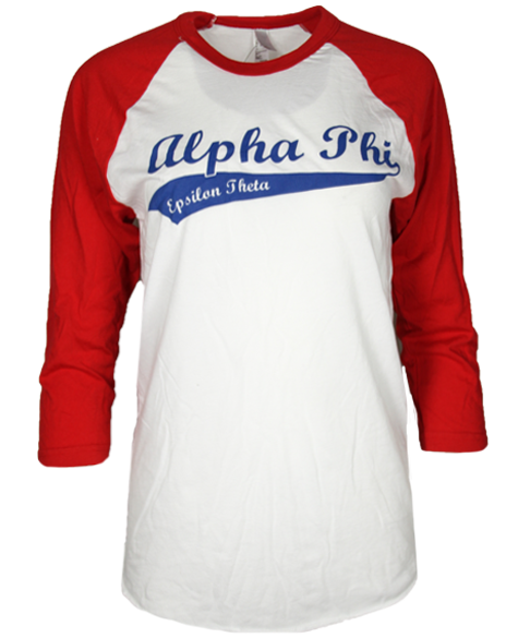 Alpha Phi Baseball Tee By Adam Block Design Custom Greek Apparel