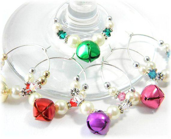 christmas wine charms crystal and jingle bell por alovelycreation 1500 - Christmas Wine Charms