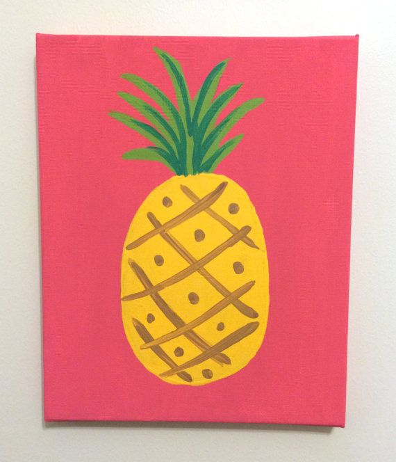 "Lilly Pulitzer Inspired Pineapple Painting by goldenarrowdesign, 8"" x 10"" stretched canvas with acrylic paint."