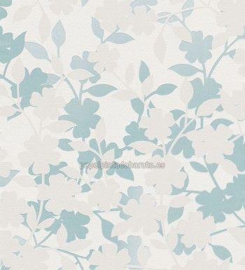 Papel pintado contorno flores y hojas turquesa 451023 - Papel pintado salon ...
