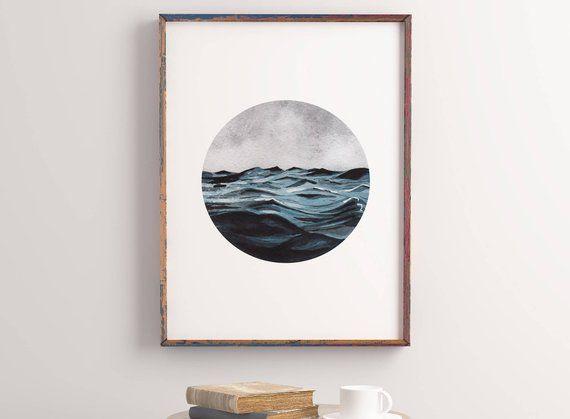 Wall Art Ocean Print Wall Decor Ocean Art Ocean Watercolor Art