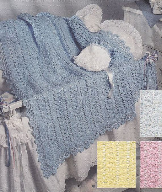 Lace Baby Afghan Crochet Pattern - Baby Blue Lace | BEBES ...