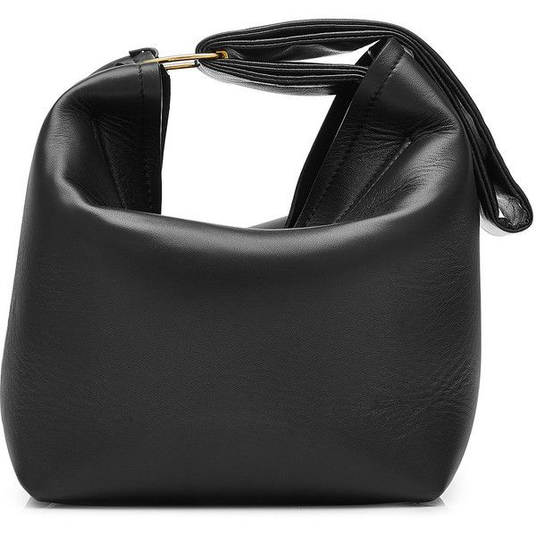 Victoria Beckham Leather Pouch Bag ($1,480) ❤ liked on Polyvore featuring bags, handbags, black, leather bags, wristlet pouch, leather wristlet, genuine leather purse and leather pouch