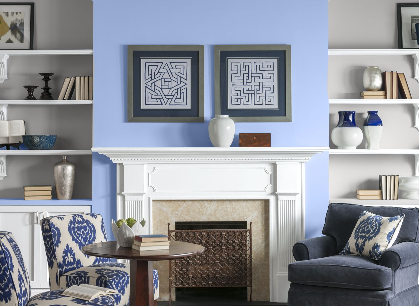 Living Room in French Country Blue | Living room, Room ...