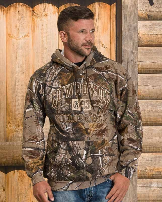 efe0619f9656b Cowboy Up Men s Realtree Camo Collegiate Hoodie If you love the outdoors