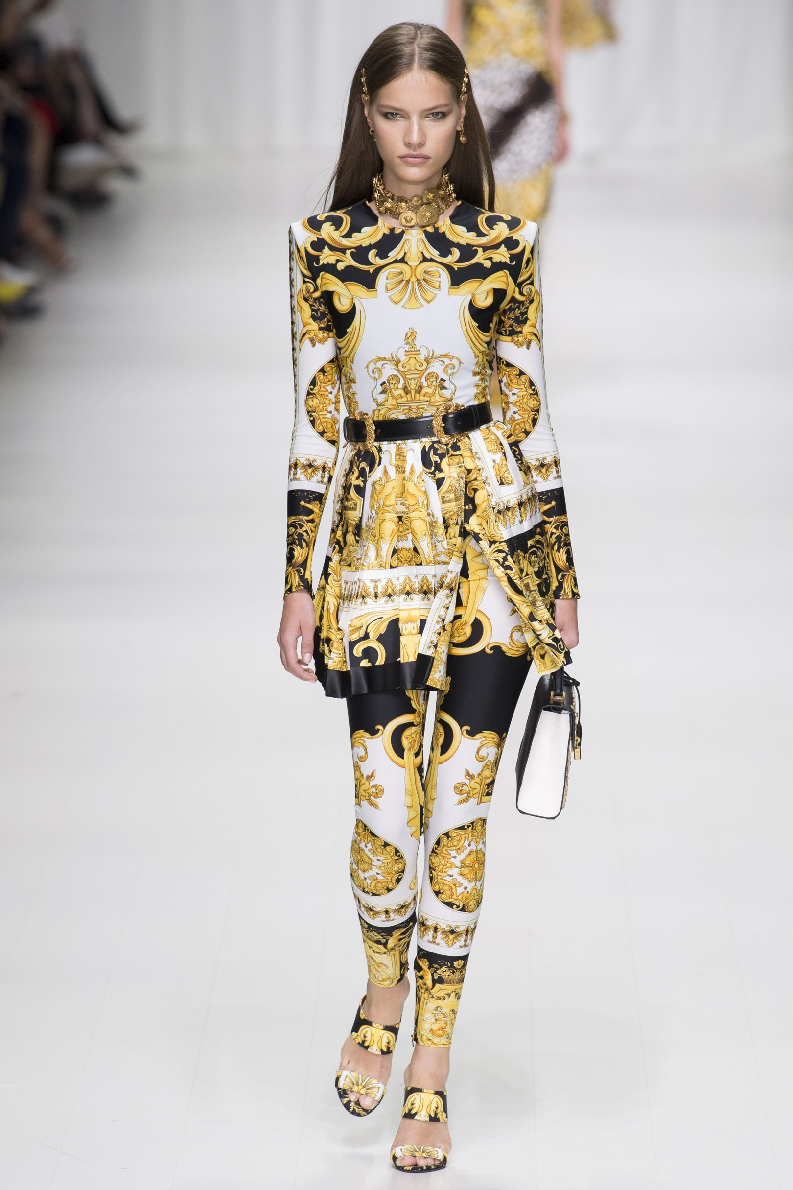7d1cf506fd4a46 Versace black, white & gold classic opulent print on a long sleeve top (or  micro-mini dress ) and matching print leggings #SS18...x