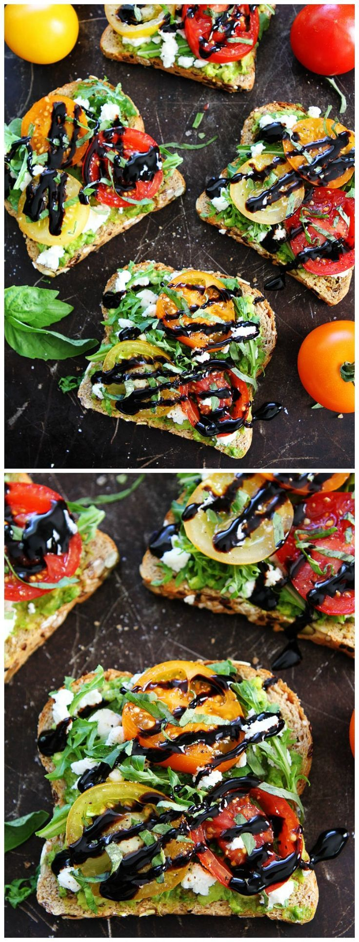 Avocado, Tomato, and Goat Cheese Toast Recipe on twopeasandtheirpo... The BEST avocado toast and it is so easy to make! It's great for breakfast, lunch, dinner, or snack time!