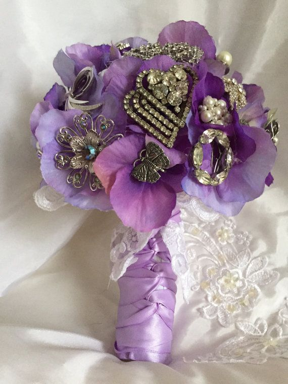 Lovely lavender Vintage Brooch Bridal by WillieJoandWoodies