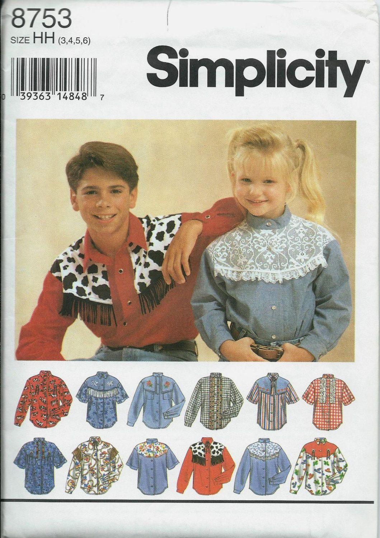 Simplicity 8753 Boys & Girls Western Shirt Pattern, Size 3-6, UNCUT by DawnsDesignBoutique on Etsy