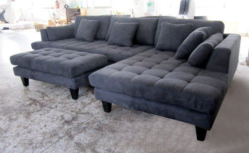 Bon Grey Sectionals | 3pc New Modern Dark Grey Microfiber Sectional Sofa Chaise  Ottoman Set .