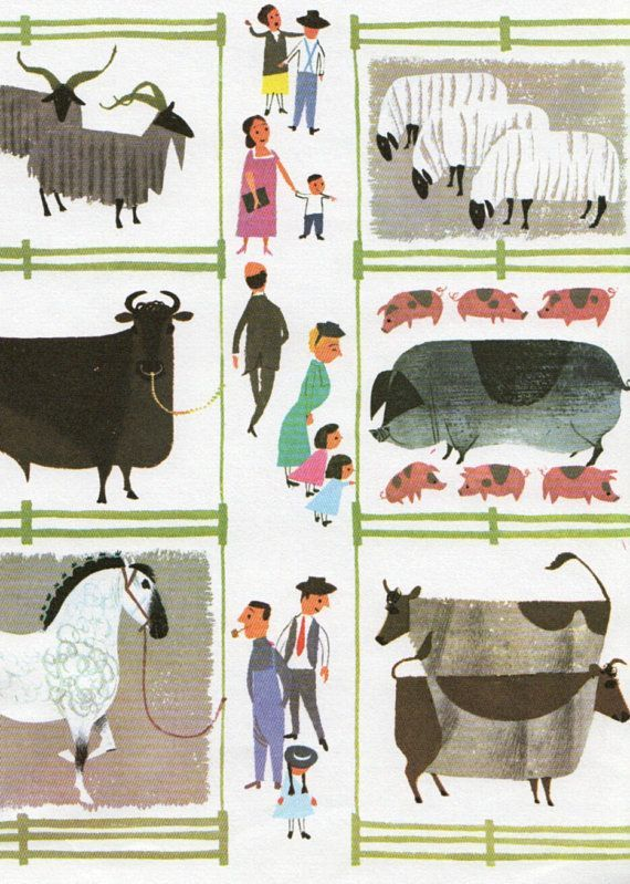 Vintage Print COUNTRY FAIR Farm Animals Illustration