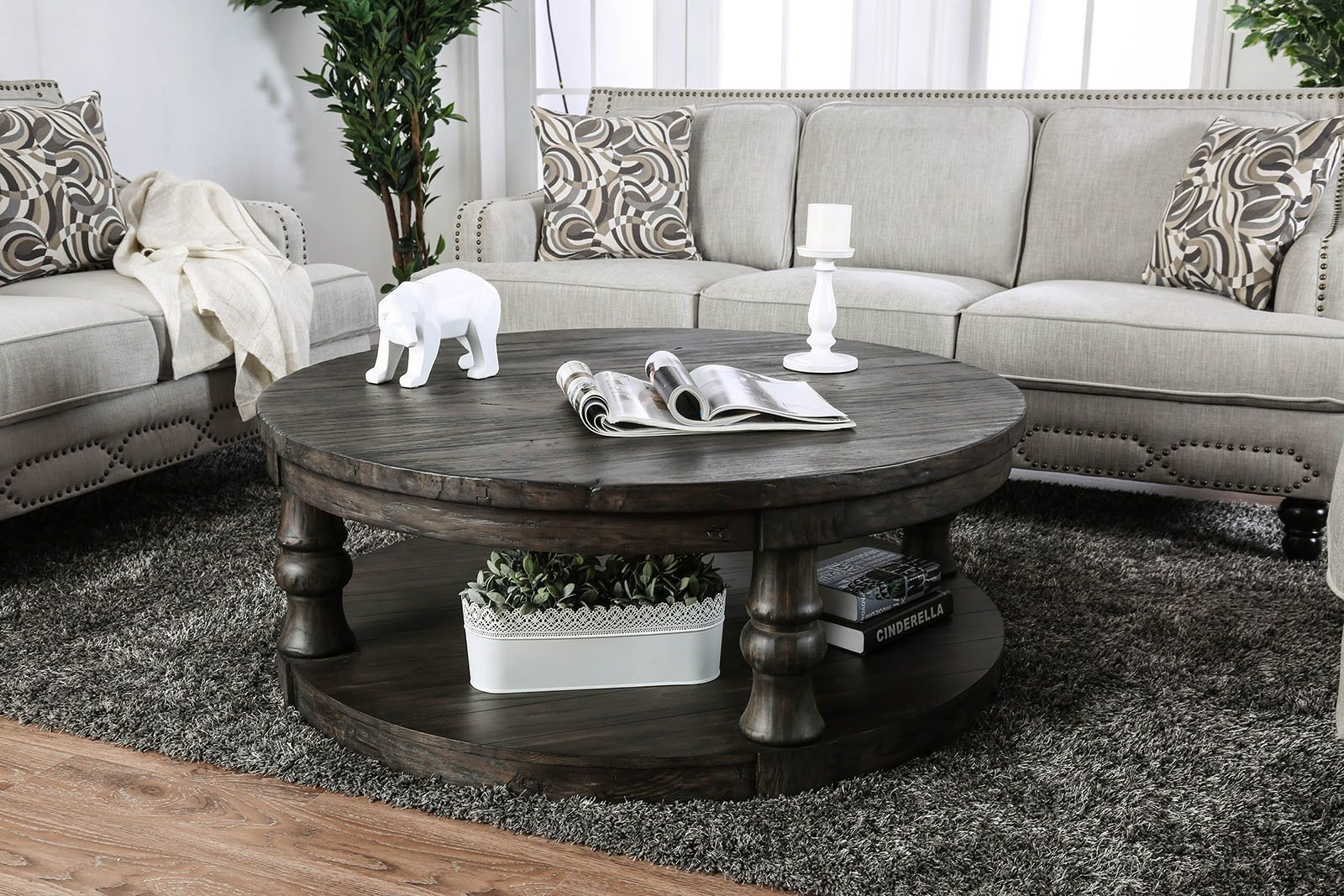 Mika Gray Coffee Table In 2020 Rustic Coffee Tables Round Wood
