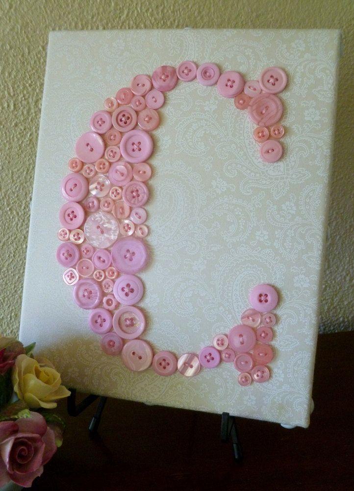My Baby Girl S Nursery: Baby Girl Nursery Button Monogram Letter Art -- Pink
