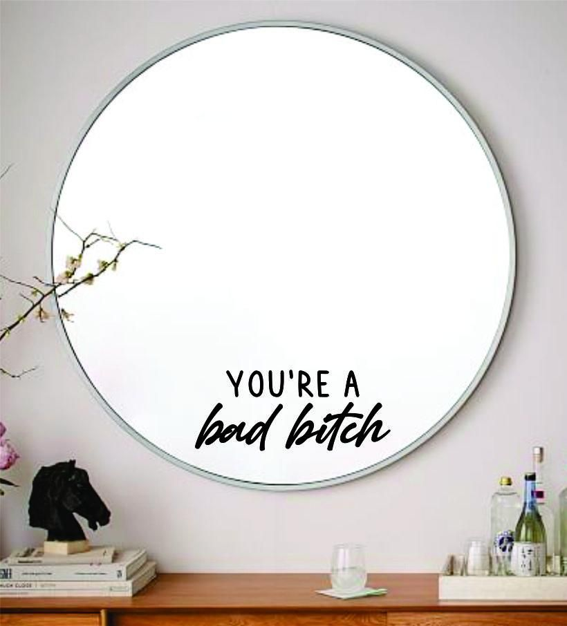 You're A Bad Bitch Wall Decal Sticker Vinyl Art Wall Bedroom Home Decor Inspirational Motivational Girls Teen Mirror Beauty Lashes Brows Make Up - red