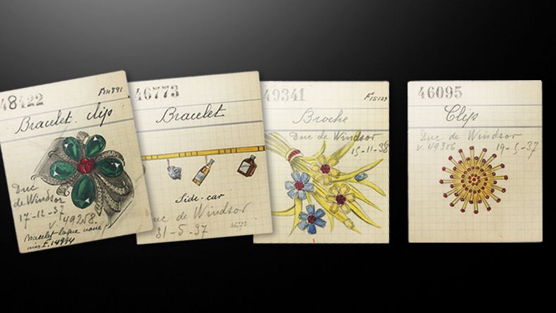 Van Cleef & Arpels retail cards for jewels ordered by the Duke of Windsor: Lacquer bracelet, Side-Car charms bracelet and Chardon clip retail cards, 1937, Van Cleef & Arpels' Archives / Hawaii brooch retail card, 1938, Van Cleef & Arpels' Archives