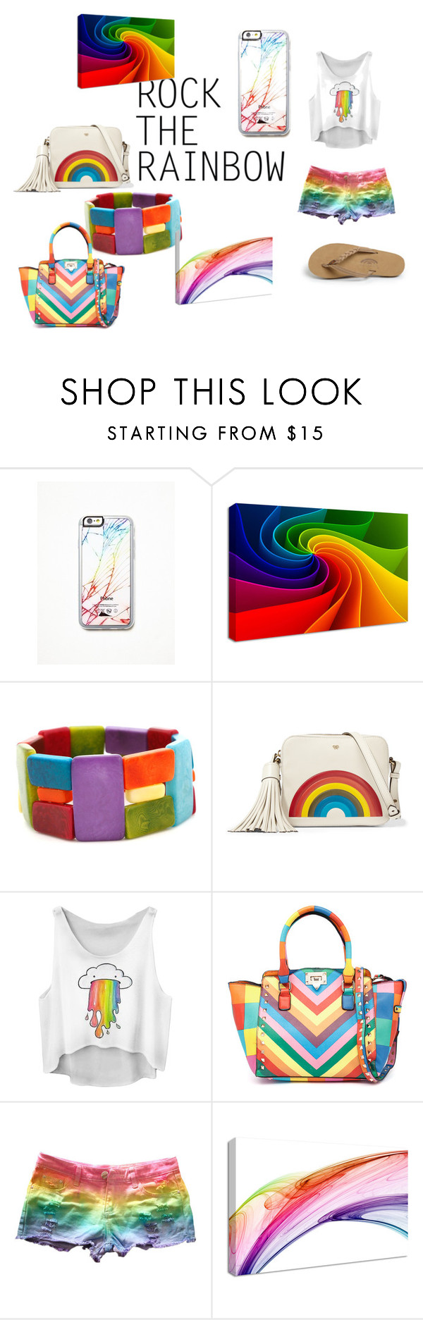 """""""Rainbow sin stlye"""" by super-cupcakegirl ❤ liked on Polyvore featuring moda, Free People, Encanto, Anya Hindmarch, Rainbow, women's clothing, women's fashion, women, female y woman"""