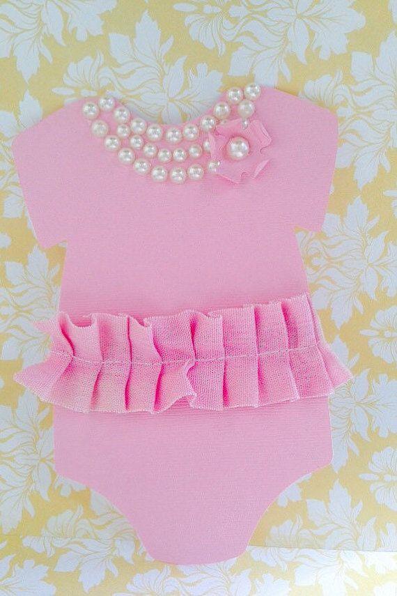 Tutu Dress Baby Shower Pink Onesie Invitation 25 Pink