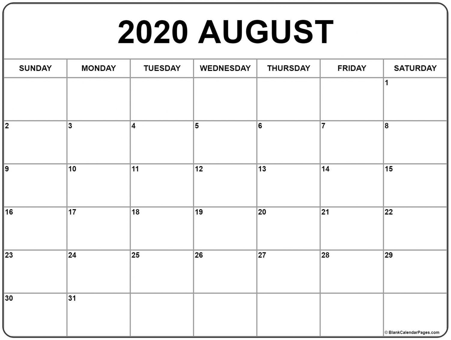 2020 August Calendar Printable Di 2020