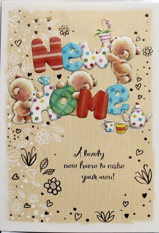 New home card, wish luck suitable for male or female teddy bears theme brand new #Selective #NewHome
