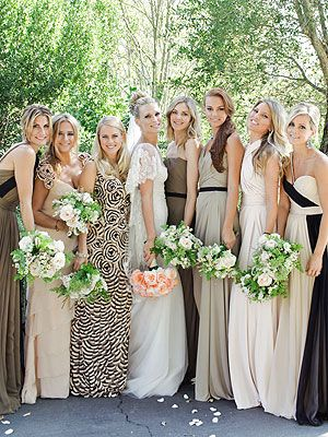 bridesmaids dresses, all floor length, completely different colors/patterns,, this is actually cute!