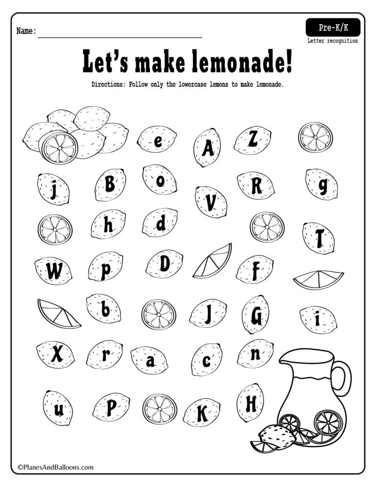 Summer lemonade fun: Letter recognition worksheets pdf set