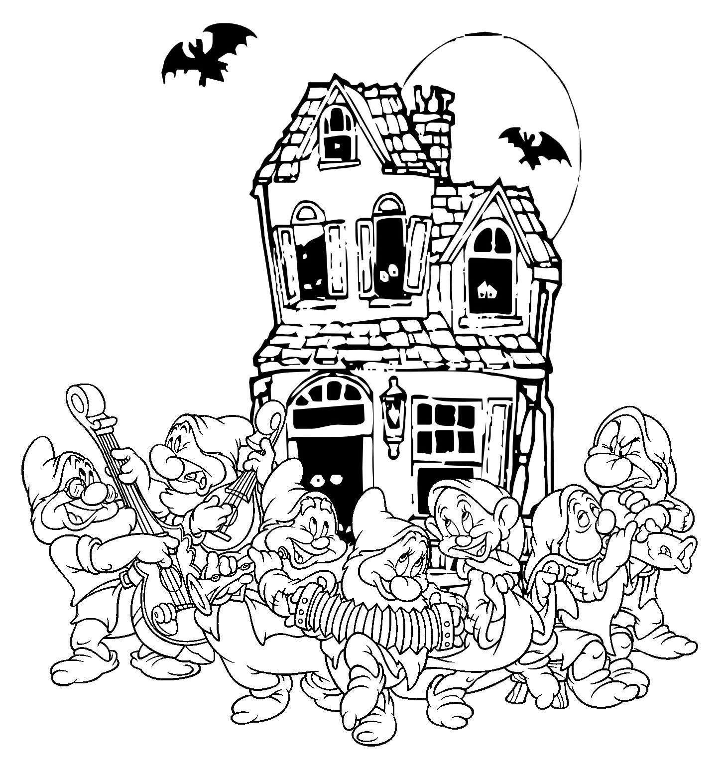 Halloween coloring printables disney - Disney Coloring Pages Snow White Seven Dwarfs Halloween Coloring Page