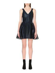 MAJE Rayure striped-mesh dress