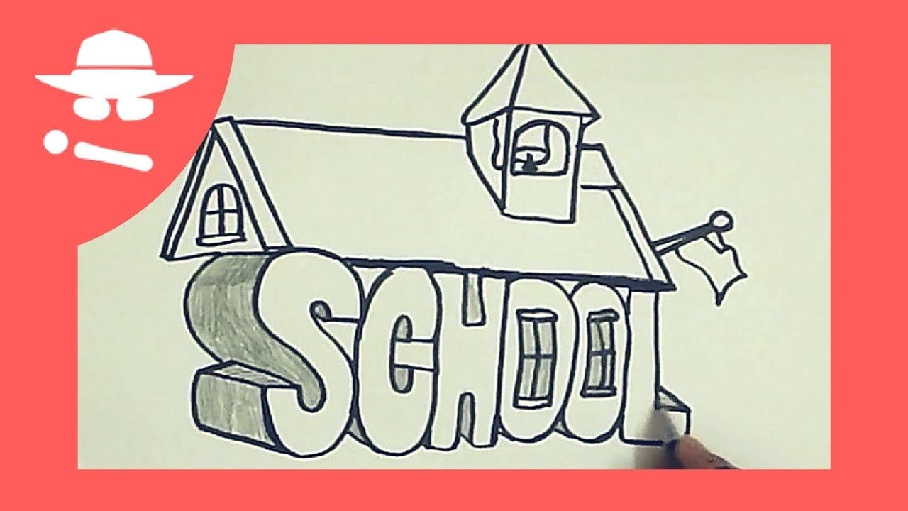 How to turn word school into 3d school drawing on paper for kids you