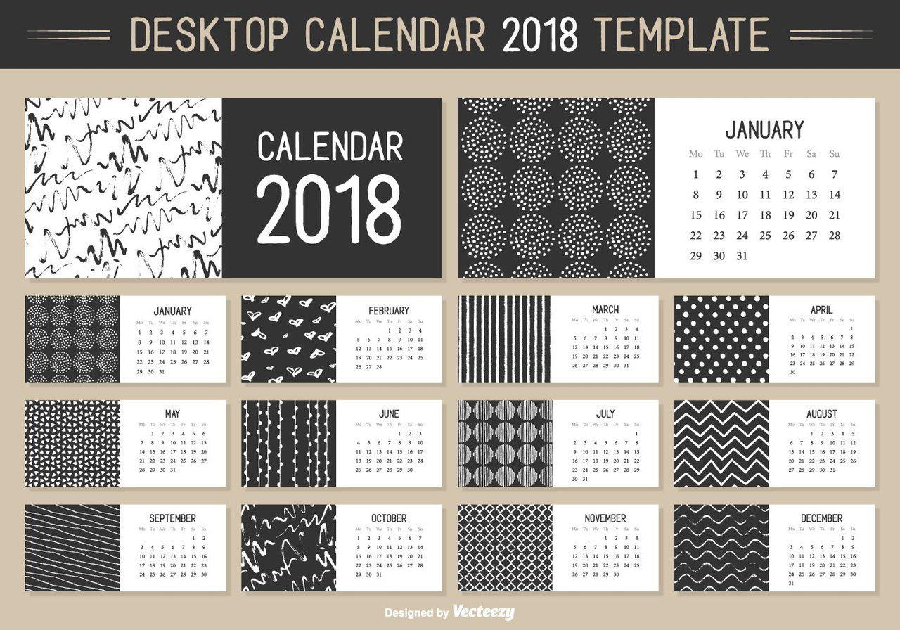 Monatliche Desktop-Kalender 2018 Vektor-Vorlage - | PLANNER ...