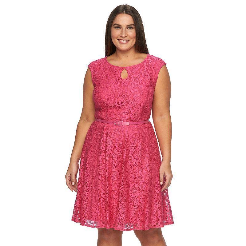 48c161d0300 Plus Size Suite 7 Floral Lace Fit   Flare Dress