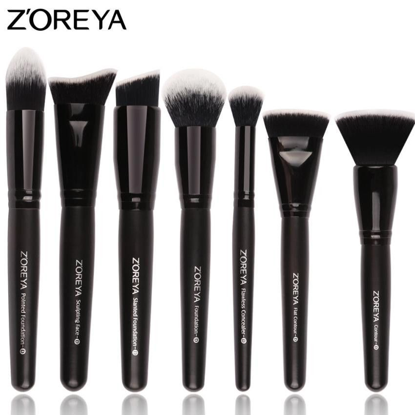 ZOREYA Brush Highlighter Brushes 7Pcs Professional Makeup Brush Set Flat Face Makeup Conclear Tools Kit