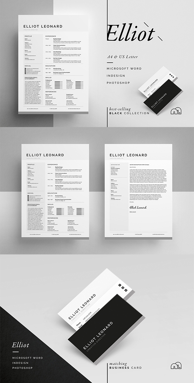 Professional Resume/CV / Cover Letter and Business card template ...