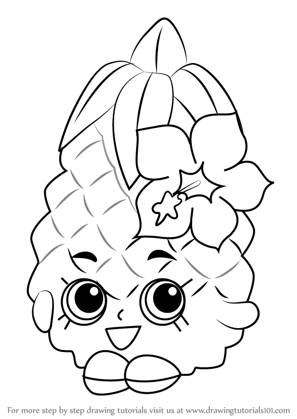 Learn How To Draw Pineapple Crush From Shopkins Shopkins Step By Shopkin Coloring Pages Coloring Pages Shopkins Colouring Pages