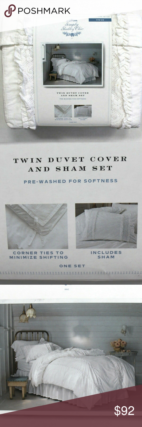 Simply Shabby Chic 2Pc Ruffle Lace Duvet Cover Set Brand new in package Simply Shabby Chic 2 Piece White Ruffle Lace Mesh Duvet Cover 038 1 Sham Size Tw Simply Shabby Chi...