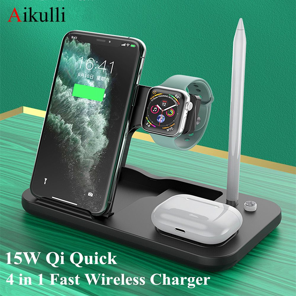 Aikulli 15w Qi Wireless Charger Dock 4 In 1 Fast Charging Stand For Iphone 11 Pro Apple Watch 5 4 3 Airpods 2 Pro Pencil Ch Wireless Charger Apple Watch Iphone