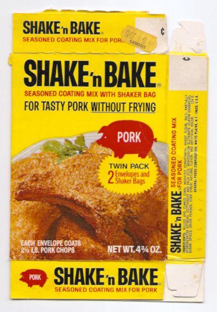 Vintage general foods shake 39 n bake pork mix box baked for Shake n bake fish