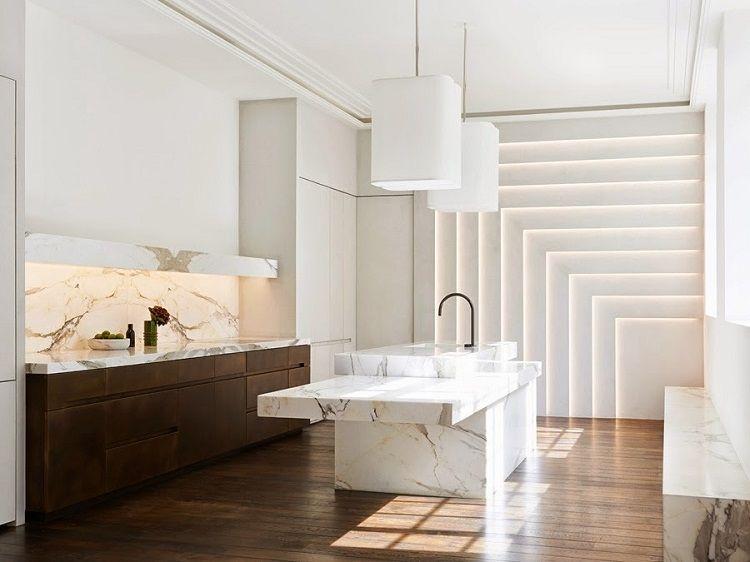 marmol combinado luces led Interiores para cocina Pinterest