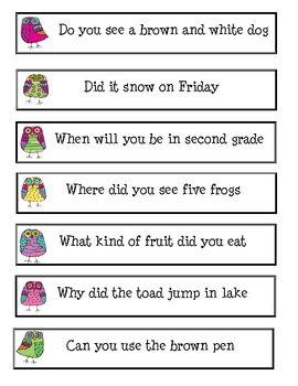 asking telling sentences center activity literacy general classroom language teaching. Black Bedroom Furniture Sets. Home Design Ideas