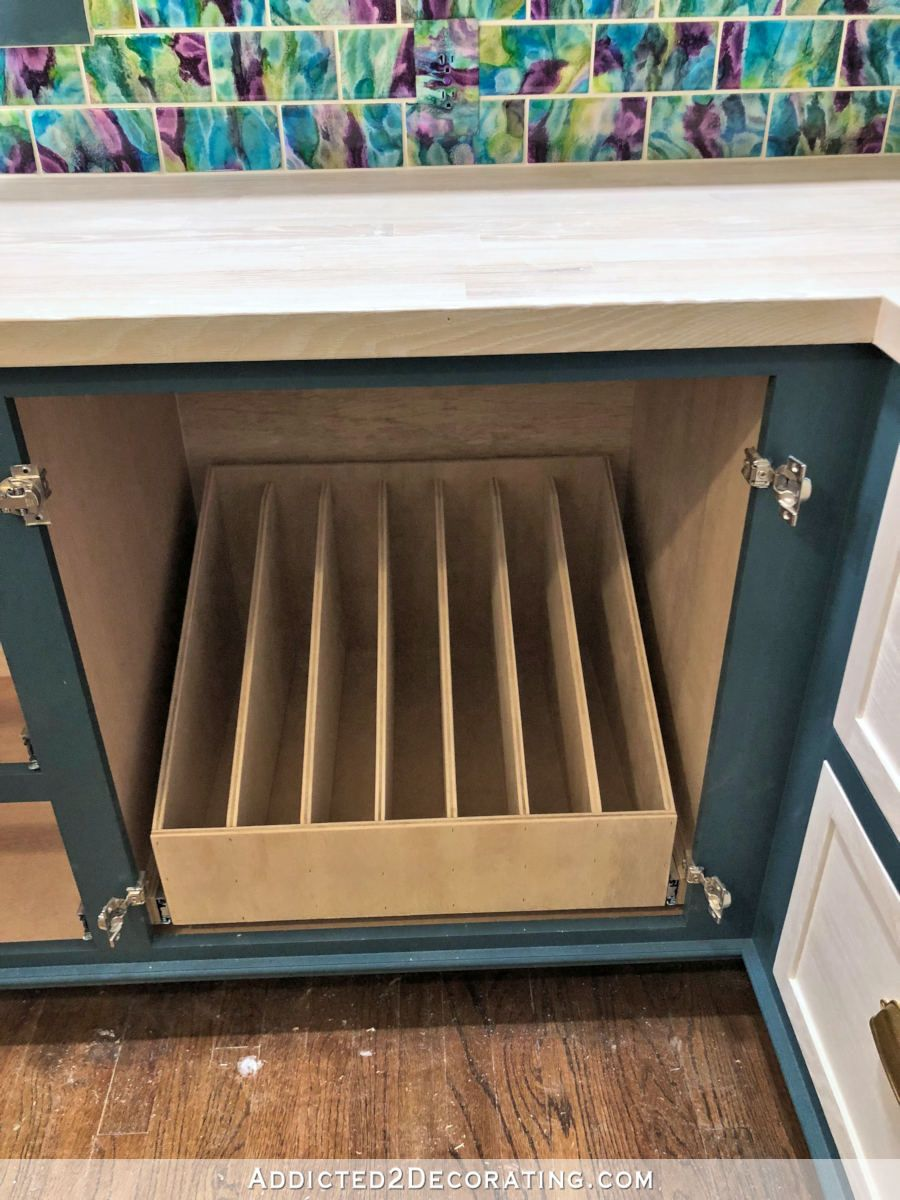 DIY Pull-Out Slotted Drawer For Cookie Sheets, Pizza Pans, Cutting Boards, Etc