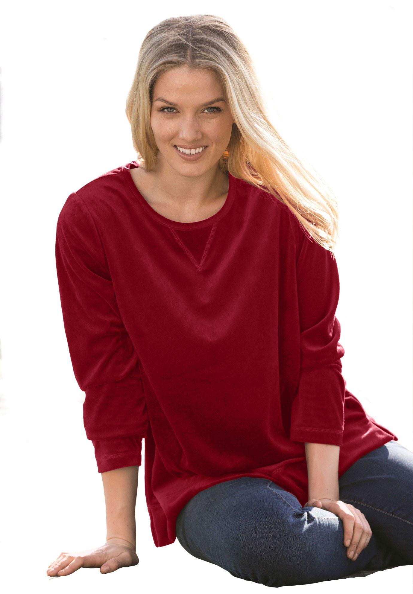 Top sweatshirt in plush tuniclength velour knit this plus size